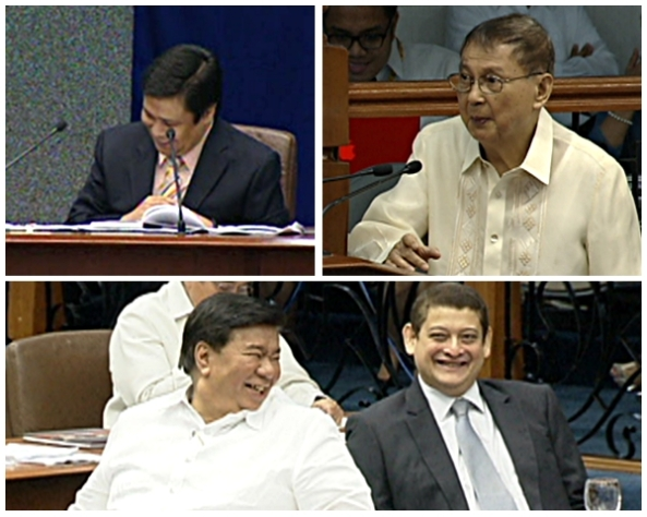 Senators Jinggoy Estrada, Franklin Drilon and TG Guingona laugh at Sen. Joker Arroyo's questions to Estrada, the acting Senate President after Enrile resigns. (Shots courtesy of ABS-CBN News)