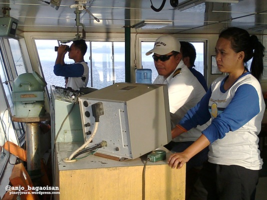 Capt. Jose Malbas and the officers of the M/V Lady of Miraculous Medal during the trip (Shot on June 15, 2013 by Anjo Bagaoisan)