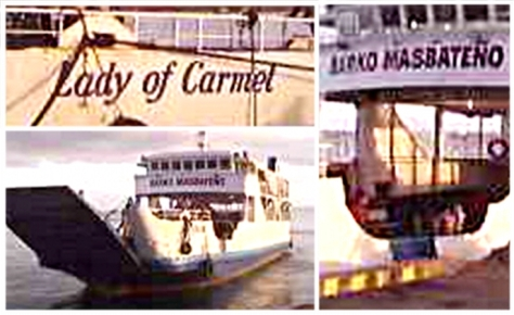 Screen grabs from amateur video contributed to ABS-CBN News of the M/V Lady of Carmel taken in Pioduran, Albay