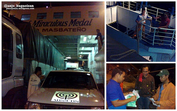 ABS-CBN field operations crew and vehicles boarding the M/V Lady of Miraculous Medal in Pioduran, Albay (Shots taken on June 15, 2013 by Anjo Bagaoisan)