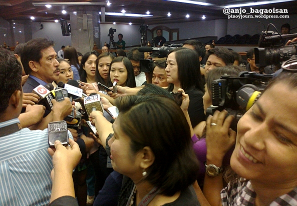 "Senate reporters interview Sen. Vicente  ""Tito""Sotto III as he announces he would resign his post as Majority Floor Leader (Shot June 5, 2013 by Anjo Bagaoisan)"