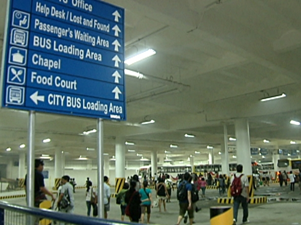A sign board at the Southwest Integrated Bus Terminal showing directions to its facilities (Shot by Evart Villar, ABS-CBN News)
