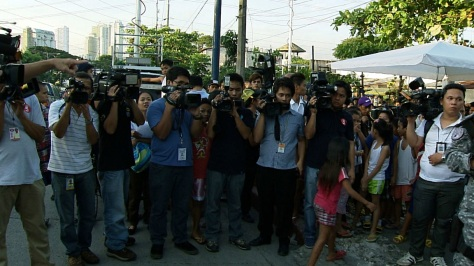 Media cameramen guarding the driveway to the Makati City Jail (Shot by Archie Torres, ABS-CBN News)