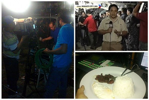 Covering the Napoles transfer to Makati City Jail--Clockwise: Crew members Benny Ganelo, Gene Pasco, and Edgar Celis ready our live shot; Raffy Santos reporting for Bandila; and the takeout tocilog. (Shots by Anjo Bagaoisan; screengrab from ABS-CBN)