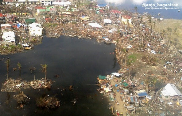 Aerial view of Tacloban City coastline damaged by Typhoon Haiyan / Yolanda (Shot Nov. 26, 2013 by Anjo Bagaoisan)