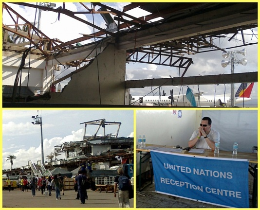 Landing at the damaged terminal of Tacloban City Airport. A United Nations representatives receives foreign aid workers. (Shot Nov. 26, 2013 by Anjo Bagaoisan)