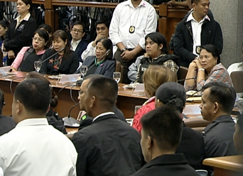 Whistleblowers Marina Sula, Merlina Suñas, Benhur Luy and ,  Gertrudes Luy face Janet Napoles at the Senate (Shot Nov 7, 2013 by Allan Pingol, ABS-CBN News)