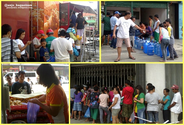 Lining up for fast food, water, bread, and medicines in downtown Tacloban (Shots by Anjo Bagaoisan)