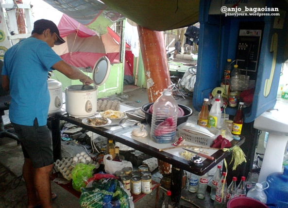 Makeshift kitchen at the ABS-CBN satellite setup outside the Tacloban City Airport
