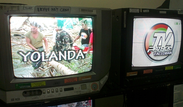 Monitors at ABS-CBN Tacloban showing TV Patrol Tacloban logo and shot of Typhoon Yolanda (Shot by Anjo Bagaoisan)