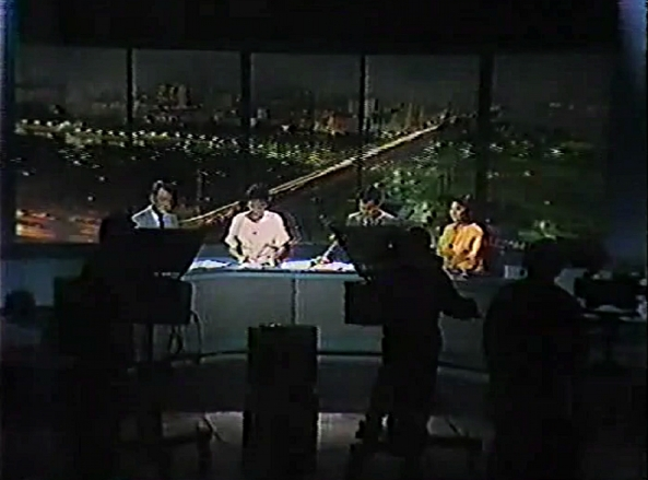 Wide view of TV Patrol's first studio, circa 1989 with Frankie Evangelista, Mel Tiangco, Noli De Castro, and Angelique Lazo (Courtesy: ABS-CBN)