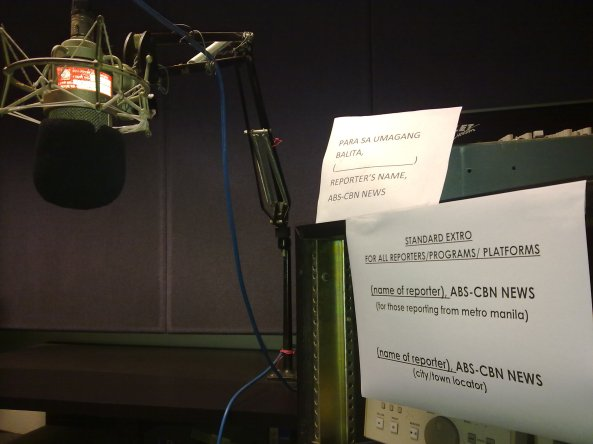 "Notices of ""ABS-CBN News"" extro at the ABS-CBN VO voice over room"