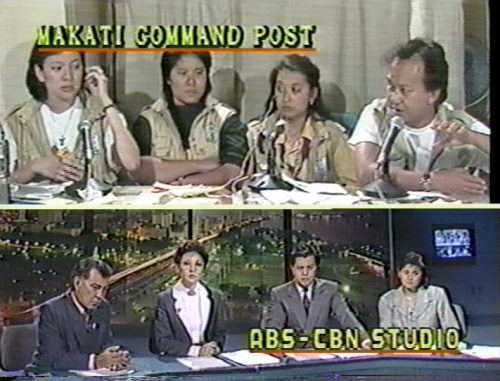 ABS-CBN News reporters Pia Hontiveros, Charie Villa, Ces Drilon, and Jing Magsaysay reporting on TV Patrol during the 1989 coups. Below, TVP anchors Frankie Evangelista, Mel Tiangco, Noli De Castro and Angelique Lazo. (Grab courtesy of ABS-CBN)