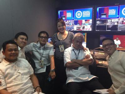 RTVM staff take a breather at the preps for SONA 2014 inside their new production van. (Courtesy: RTVM Facebook)