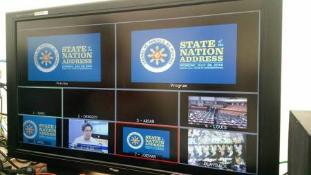 An ABS-CBN monitor of shots during the 2014 SONA preps. (Courtesy: Alden Salanga)