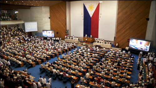 RTVM's shot of the Batasan Pambansa gallery in 16:9 (Courtesy: Radio TV Malacanang)