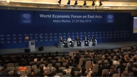 Pres. Aquino at a panel at the opening of the World Economic Forum on East Asia at the Makati Shangri-La in May 2014. ( Grab Courtesy: Radio TV Malacanang)