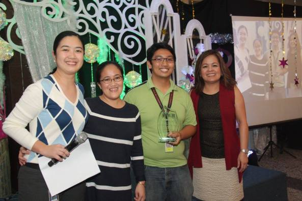 Receiving the award from news central desk head Francis Toral, news operations head Concon Dumo (my immediate boss), and Integrated News head Ging Reyes (Shot by Michael Bagtas)