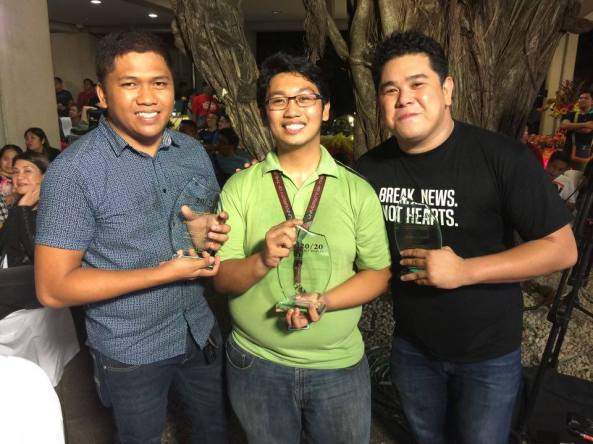 With fellow 20/20 Awardees Dennis Datu and Jeff Canoy, who were also my teammates this year during Typhoon Lando. (Shot by Chiara Zambrano)