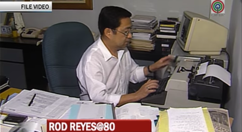 Rod Reyes at his office, which was open to anyone who wanted to come in. (Grab from TV Patrol)