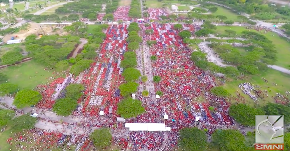 Drone shot of Davao City attempt to break Guinness world record for most people singing national anthem