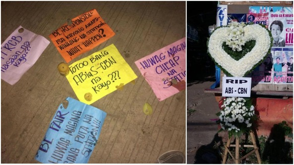 Protest gestures at ABS-CBN Davao. Placards and candles and heart-shaped wreath with RIP ABS-CBN, which came after anti-Duterte ad aired on television