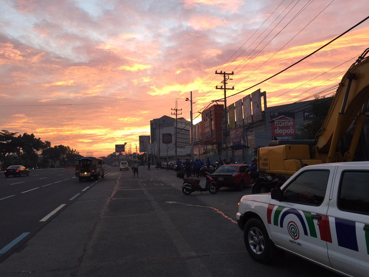 ABS CBN Crew Cab Facing Sunrise Over Commonwealth Avenue Shot By Mike Navallo