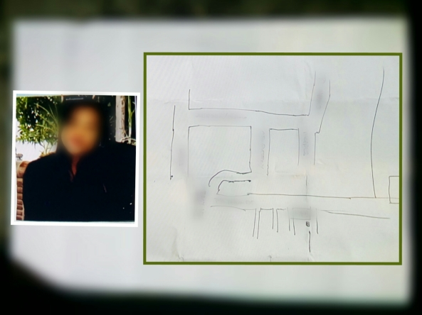Picture of a woman allegedly targeted to be killed and an attached sketch of the map leading to her house. Police found this inside the clothes of suspected hired killers killed in an encounter. The identities and directions have been blurred. (Courtesy Pasay City Police)