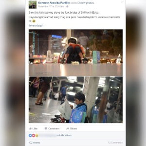 Facebook post by Kenneth Panlilio featuring sampaguita vendor Melvin Mendoza at the North Avenue overpass
